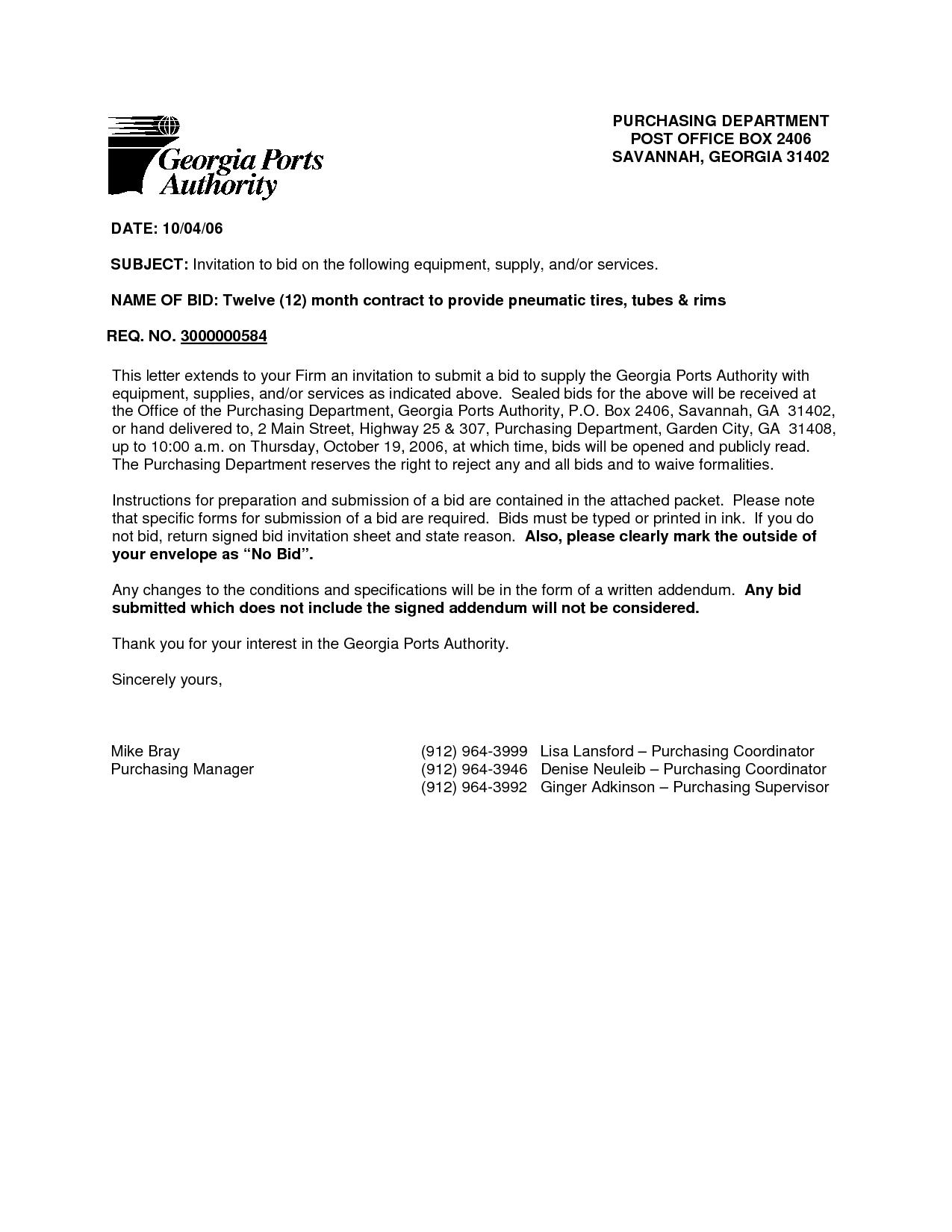 Construction Bid Cover Letter