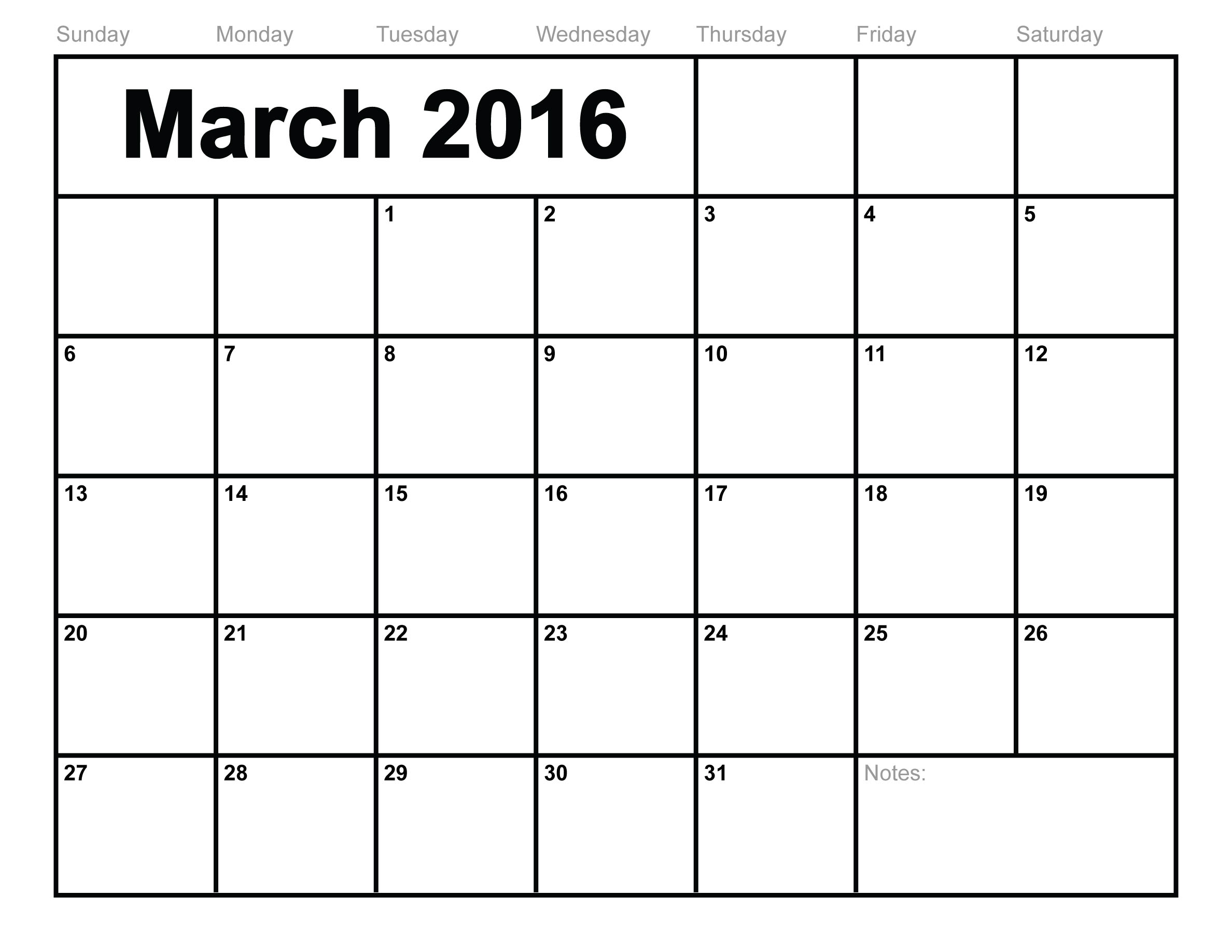 free march 2016 calendar free download