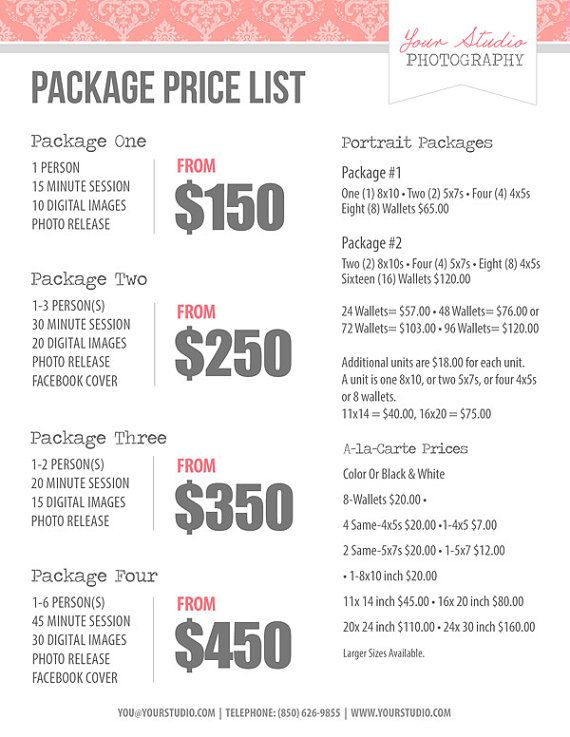 Sample Photography Pricing Sheet - FREE DOWNLOAD