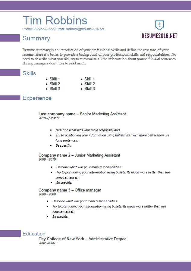 resume template 2016 free download