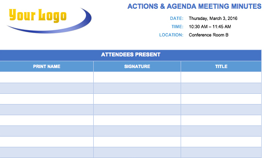 Meeting Minutes Action Items Template Free Download