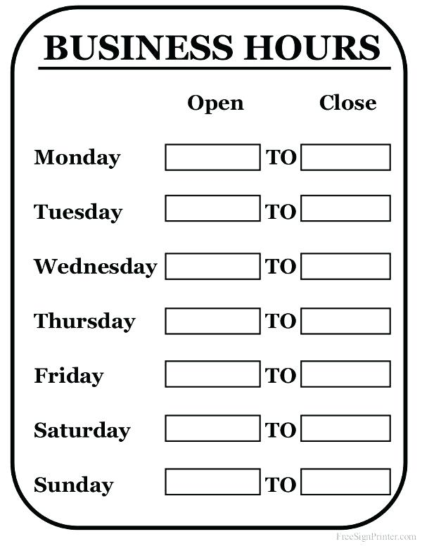 image relating to Free Printable Holiday Closed Signs named Printable Vacation Several hours Signs or symptoms - No cost Obtain