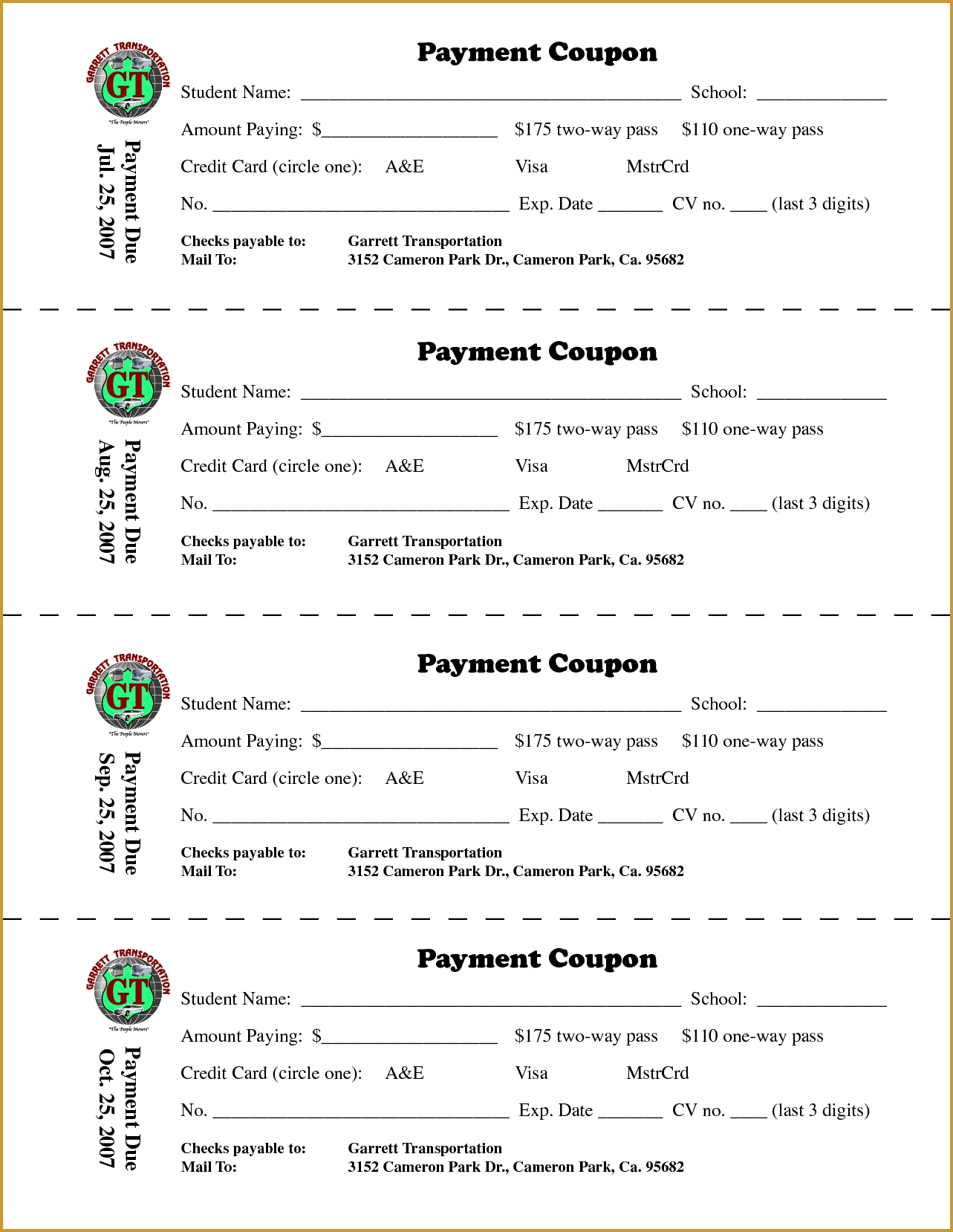payment coupon book template free download