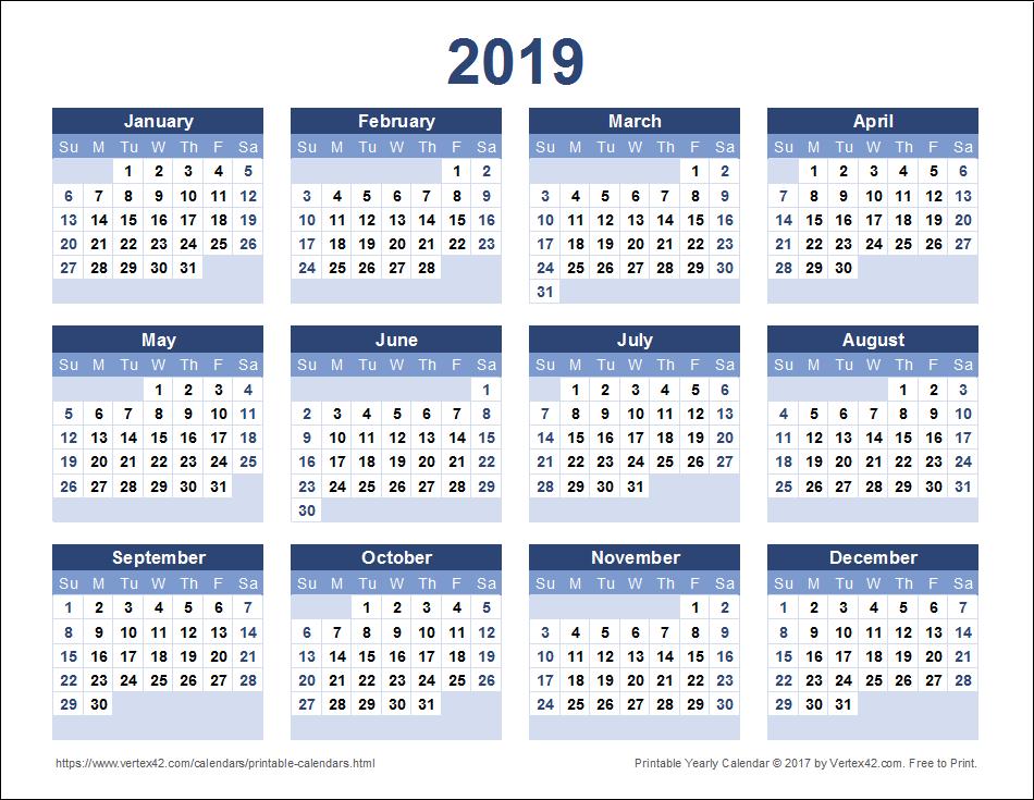 2019 yearly calendar