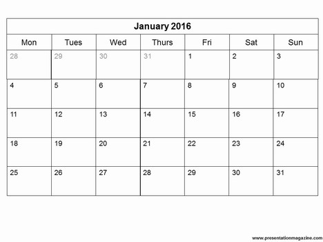 2016 Calendar Template Free Free Download