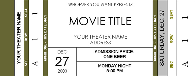 photo relating to Printable Movie Ticket Invitations identified as Ticket Invitation Template Microsoft - Totally free Down load
