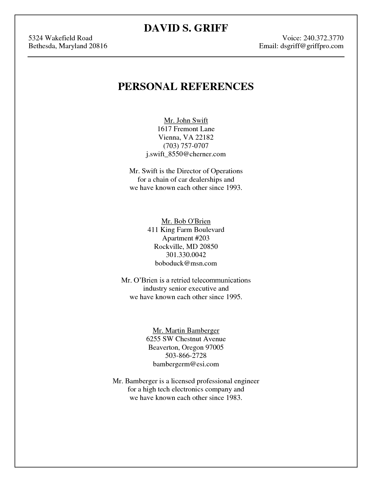Personal Reference List - FREE DOWNLOAD