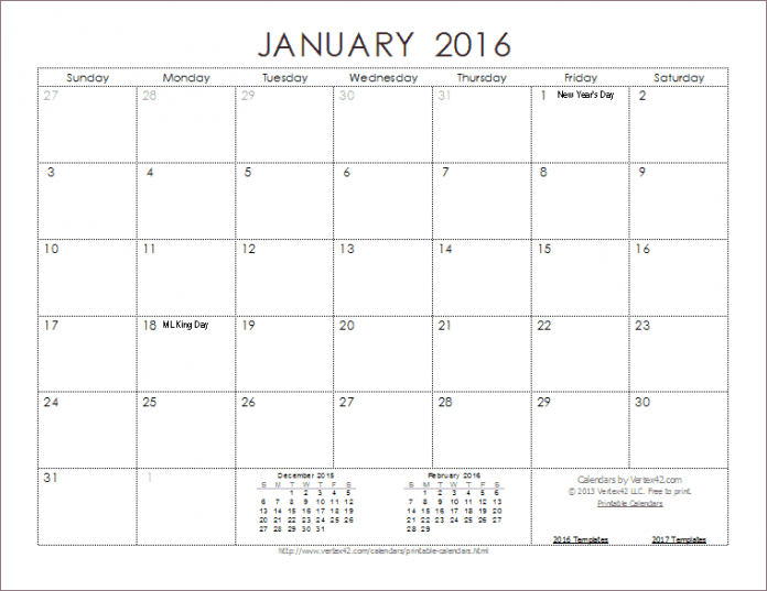 blank calendars to print 2016 free download