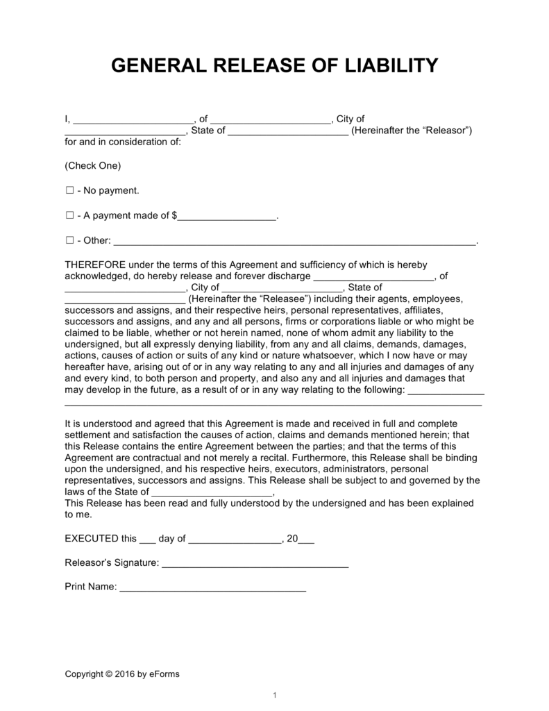 Release Of Liability Form Ca >> General Release Of Liability Form Free Download