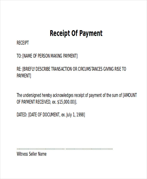 payment receipt letter free download