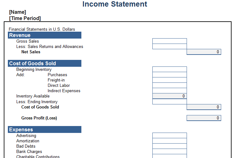 personal income statement template free download