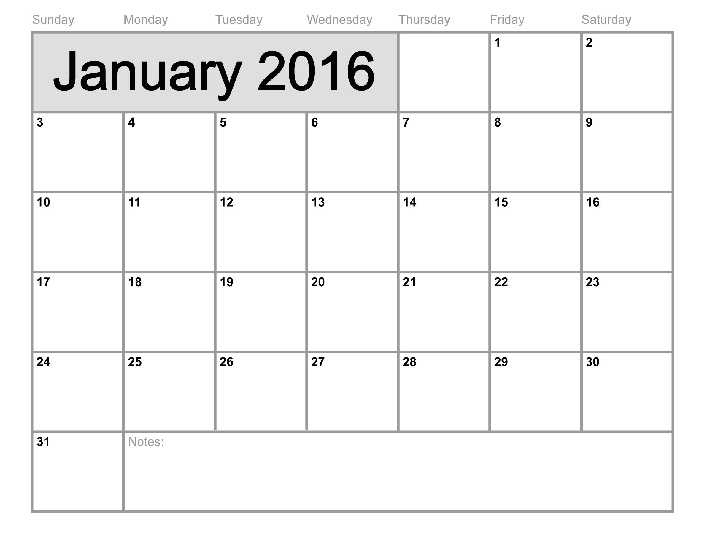 january 2016 blank calendar free download