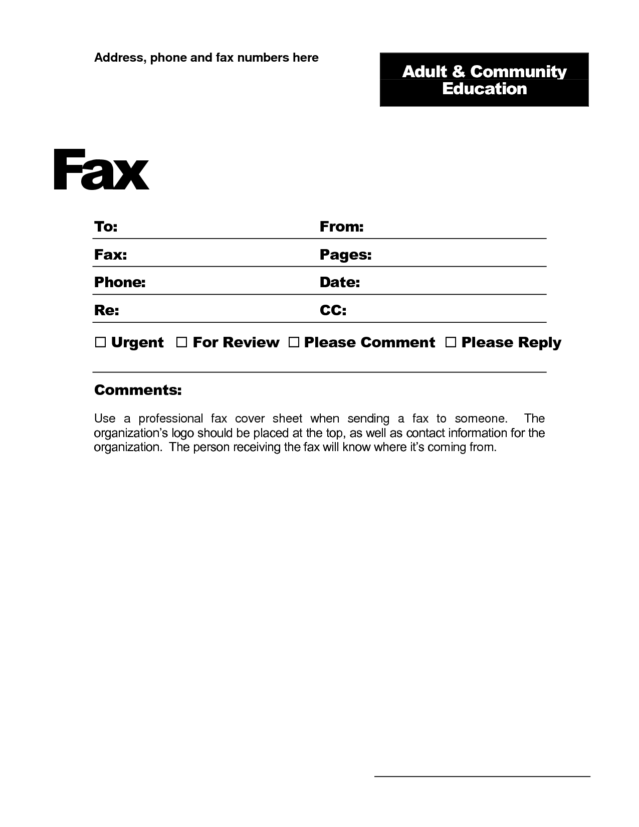 Fax Template Word 2010