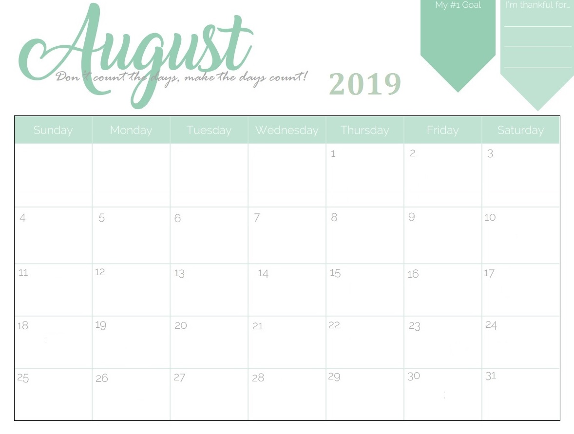 photograph regarding August Calendar Printable identified as August 2019 Calendar - No cost Down load