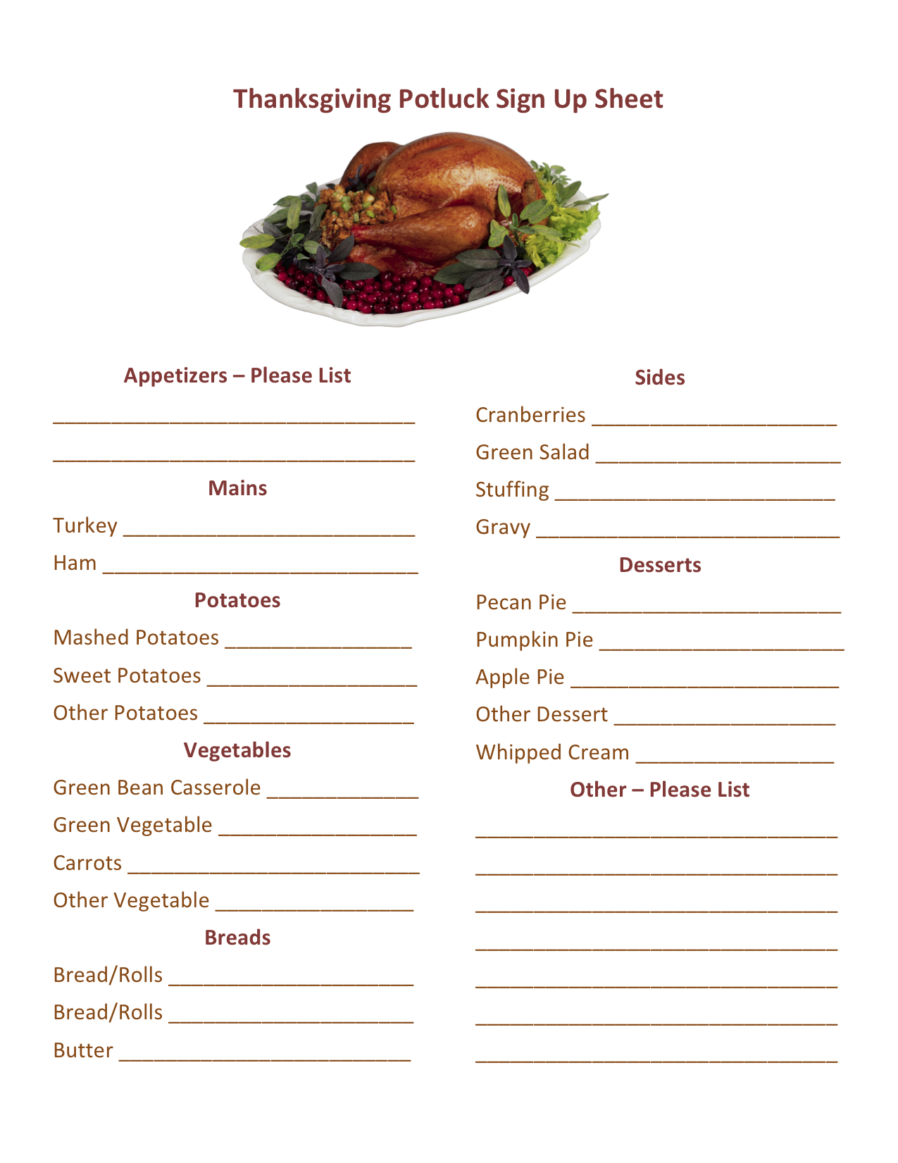 image regarding Potluck Signup Sheet Printable titled Printable Thanksgiving Potluck Signal Up Sheet Template - Cost-free